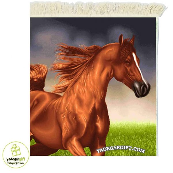 تابلو فرش ماشینی طرح حیوانات اسب قهوه ای کد 1008