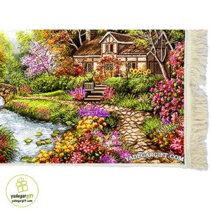تابلو فرش ماشینی خانه در باغ کد 1028
