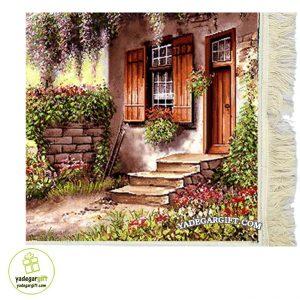 تابلو فرش ماشینی منظره خانه در باغ کد 1029