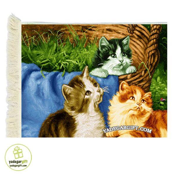 تابلو فرش ماشینی طرح حیوانات سه گربه