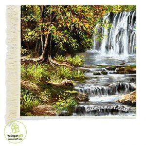 تابلو فرش ماشینی منظره آبشار زیبا کد 1022