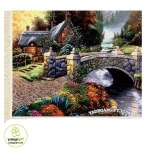 تابلو فرش ماشینی منظره پل و خانه کد 1026
